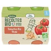 Blédina Repas bébé Bio Blédina - 6 mois Veau / Tomates - 2x200g